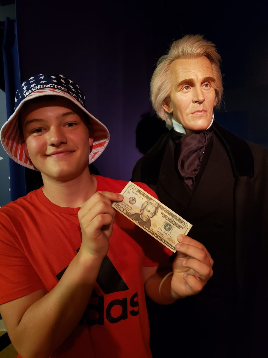 A fun history lesson was had at Madame Tussaud's Wax Museum as we matched the Presidents with their respective bills.  Shown here is my son, Adam, with Andrew Jackson.  And no, he didn't get to keep the $20!