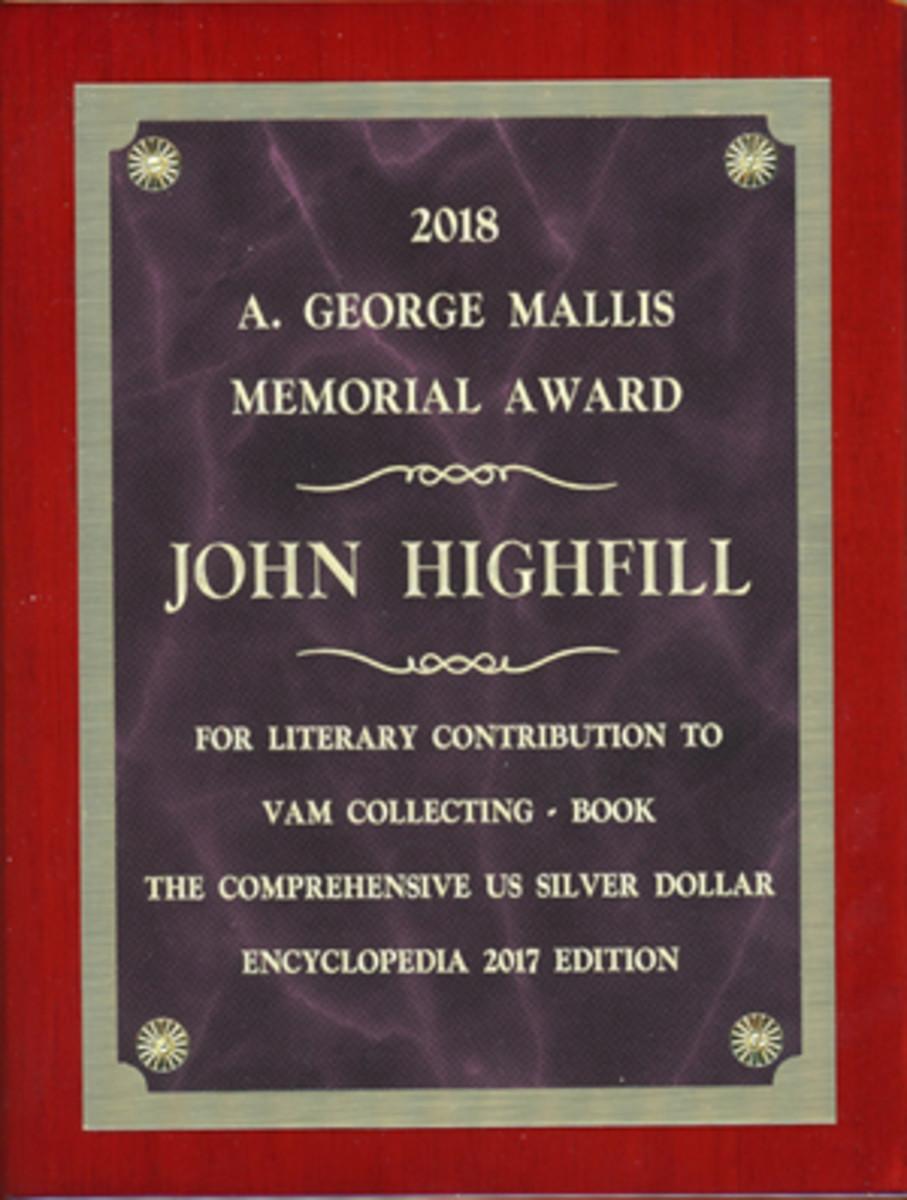 Award for John Highfill's book.