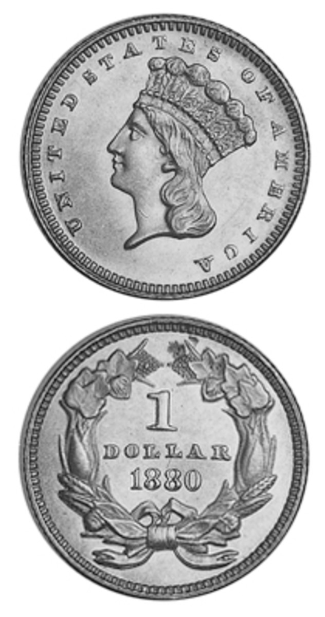 Although it had an extremely low mintage, hoarding of the 1880 gold Indian Head dollar led to numerous Mint State examples becoming available and remaining at very reasonable prices.