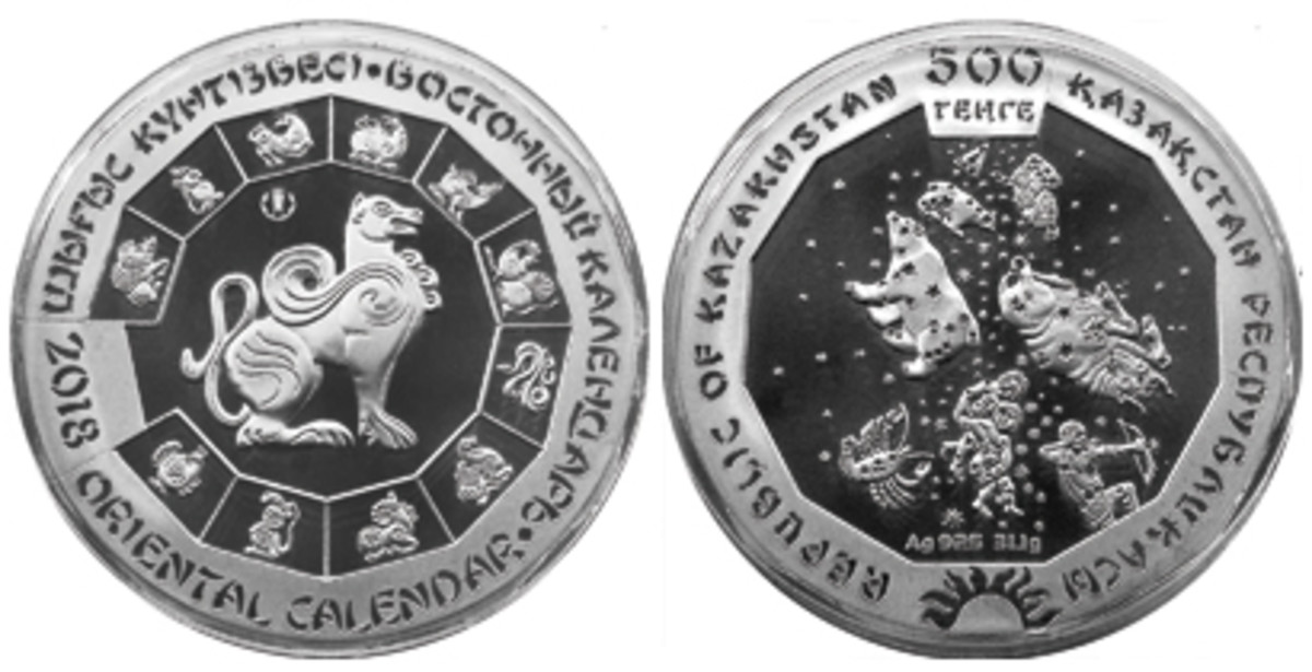Obverse and reverse of Kazakhstan's Year of the Dog silver 500 tenge show a cultural mix. (Image National Bank of Kazakhstan)