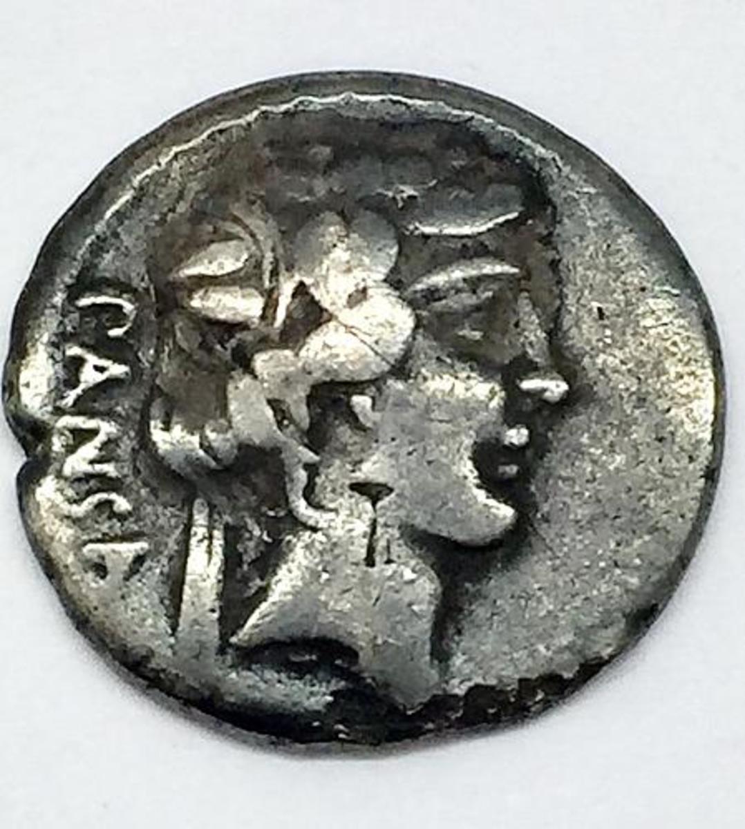 oman Republic C.Vibius Pansa Caetronianius AR Denarius - 48BC.  (Image courtesy usacoinbook.com)