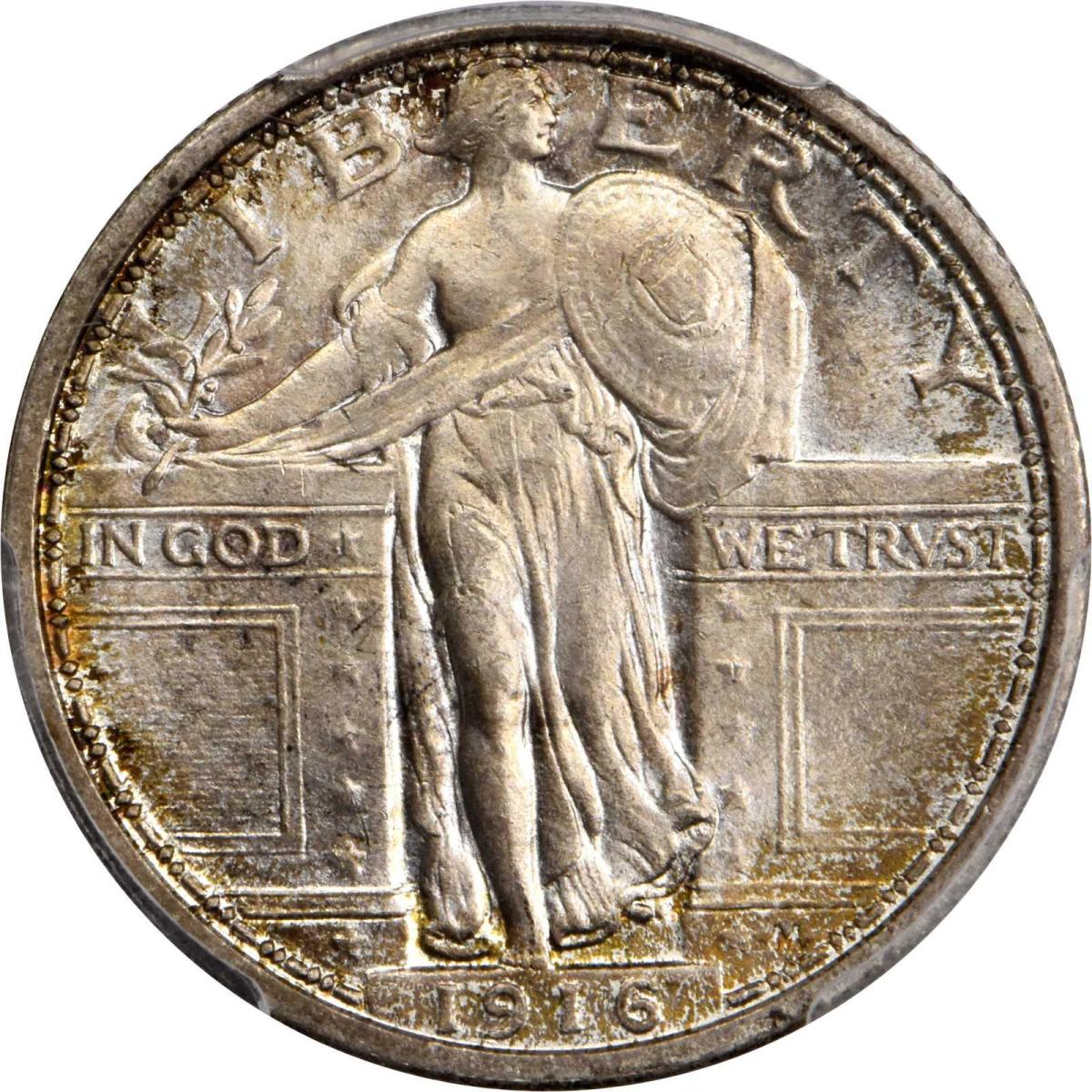 An outstanding example of a 1916 Standing Liberty quarter in MS-66+ FH (PCGS) CAC will be an eagerly-sought item at the Rarities Night on May 23. (Image courtesy of Stack's Bowers)