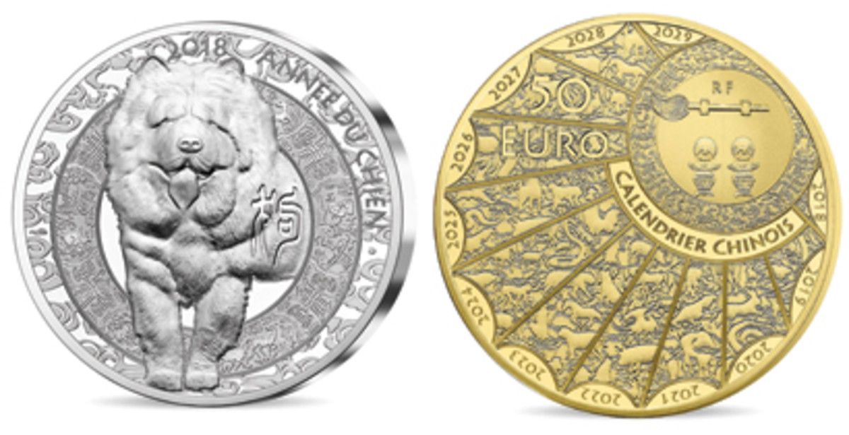 Monnaie de Paris's enthusiastic Chow Chow bounds towards the viewer on the reverse of a silver Year of the Dog 10 euro while the 12 signs of the Chinese zodiac decorate a screen on the obverse of the gold 50 euro. (Images courtesy Monnaie de Paris)