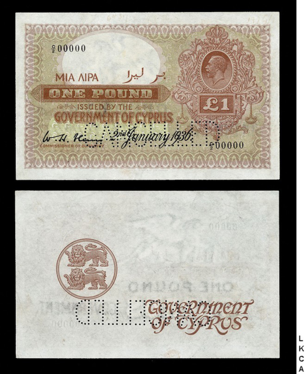 Top lot for the world notes auction? Lot 121, a specimen Cyprus one pound note, cancelled, featuring King George V's bust on it, graded AU-50. Estimate? $10,000 to $13,500