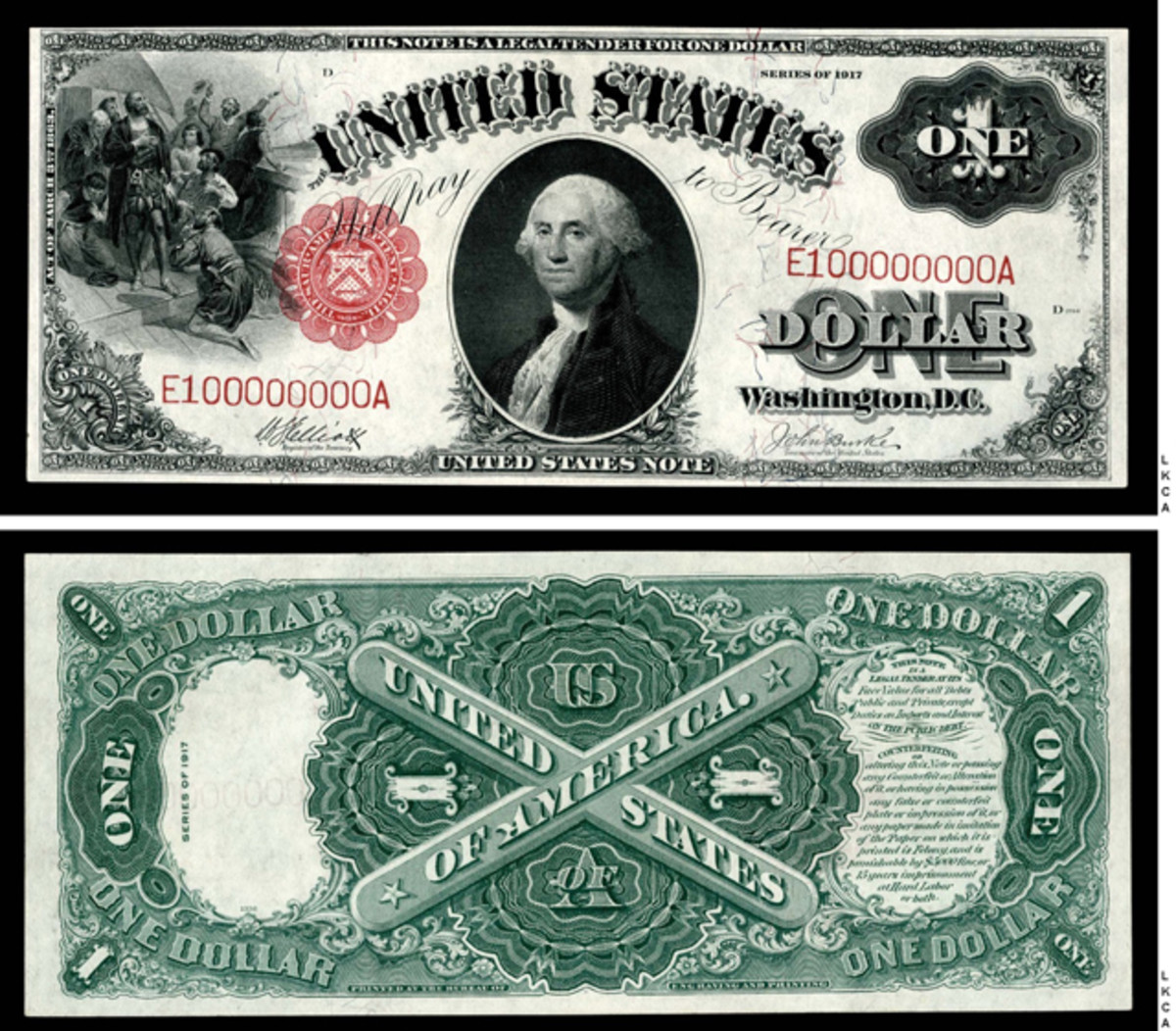Lot 1917 Legal Tender Note with a #100000000 serial number Fr. 37, graded PCGS About-New 58