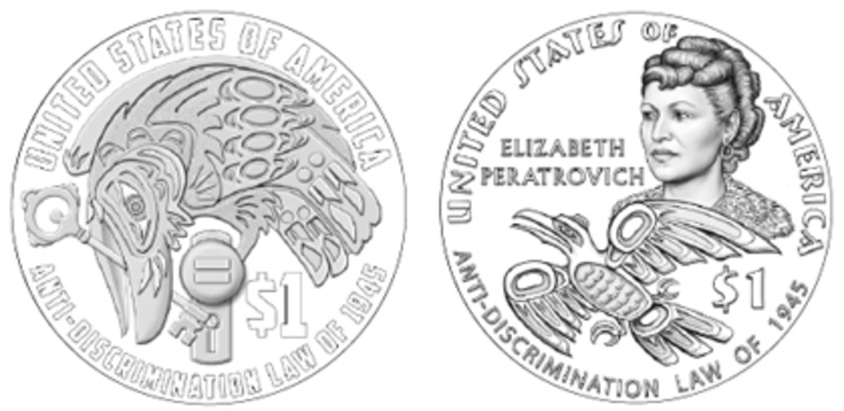 The CCAC favored Design 09 (left) for the 2020 Native American dollar marking Alaska's Anti-Discrimination Law of 1945. Elizabeth Peratrovich and a raven feature on the CFA's pick, Design 06.
