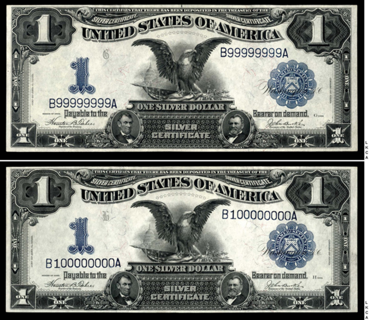 Lot 1083, a pair of $1 1899 large size silver certificates from the same block with serial numbers #99999999 and #10000000, Fr. 233