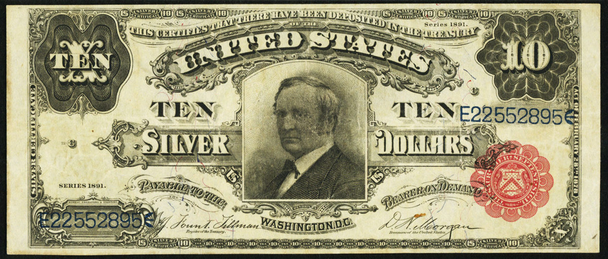 Lot 81541: $10 Silver Certificate dated 1891.