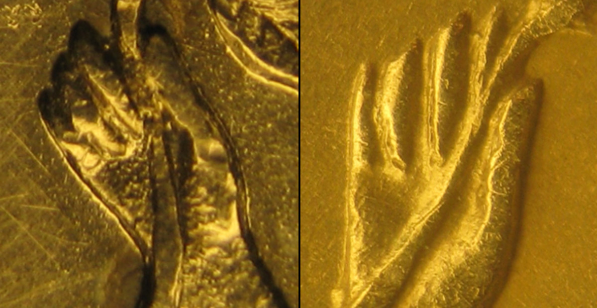 (Left) Three fingers on outstretched hand  on Type 1 of the Trade dollar obverse. (Right) Four fingers on outstretched hand on both Type 2M and Type 2 obverses.