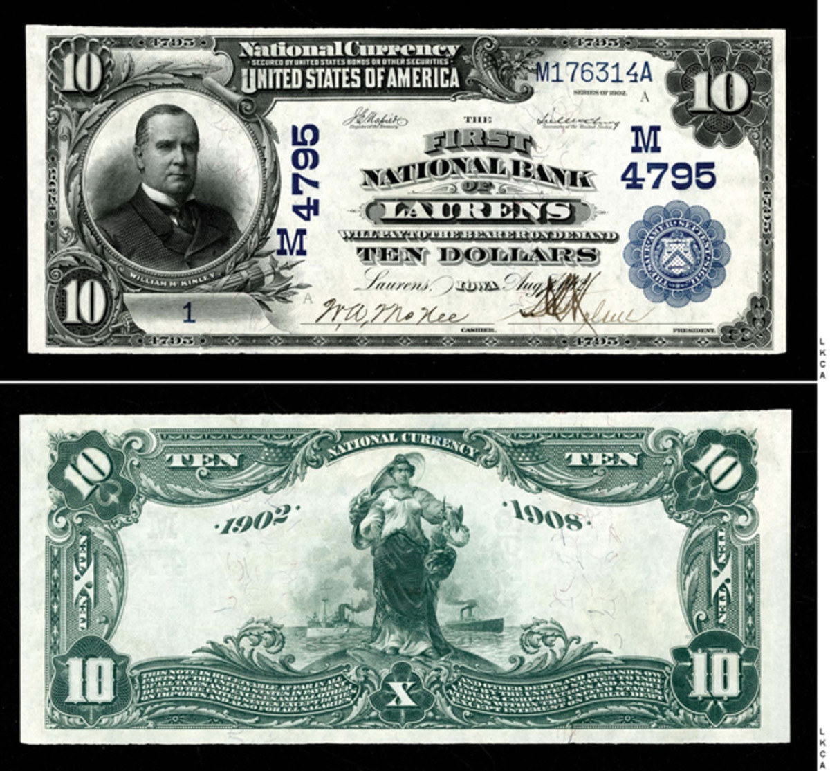 No. 1 1902 Date Back Blue Seal $10 from The First National Bank of Laurens, Iowa, M4795