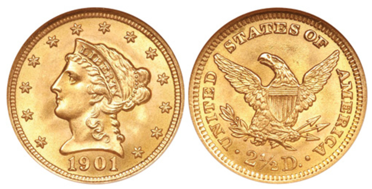 Of the four O-mint Liberty head Eagle issues of the early 1900s, the 1901-O, shown here, had the smallest mintage at 72,041. (Images courtesy of Heritage)
