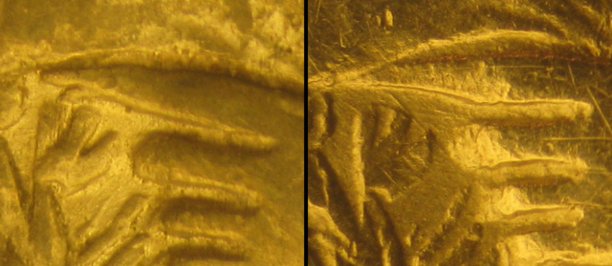 (Left) Tiny spur on inside tip of forefinger running to left from hand in this photo on Type 1 and 2 obverses. On coin the finger points downwards. (Right) No spur on forefinger just Type 2M obverse. Fingers running to left in photo.