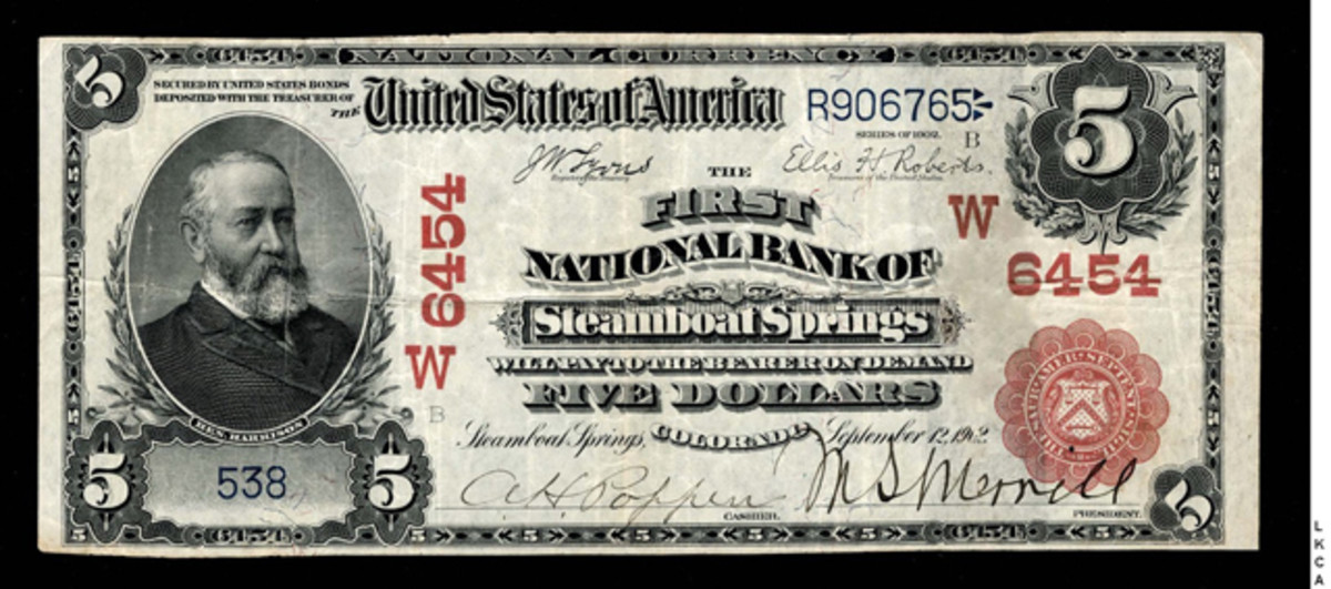 $5 1902 Red Seal, Fr. 587, from The First National Bank of Steamboat Springs, Col., W6454