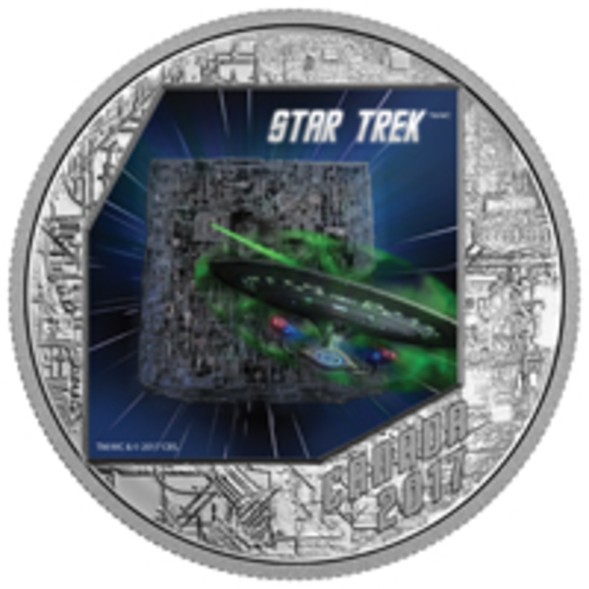 The Borg arrive intent on assimilating the biological and technological distinctiveness of the U.S.S. Enterprise and its crew on the reverse of this Canadian silver $20 proof. (Image courtesy Royal Canadian Mint. TM & © 2017 CBS Studios Inc. STAR TREK and related marks and logos are trademarks of CBS Studios Inc. All Rights Reserved.)