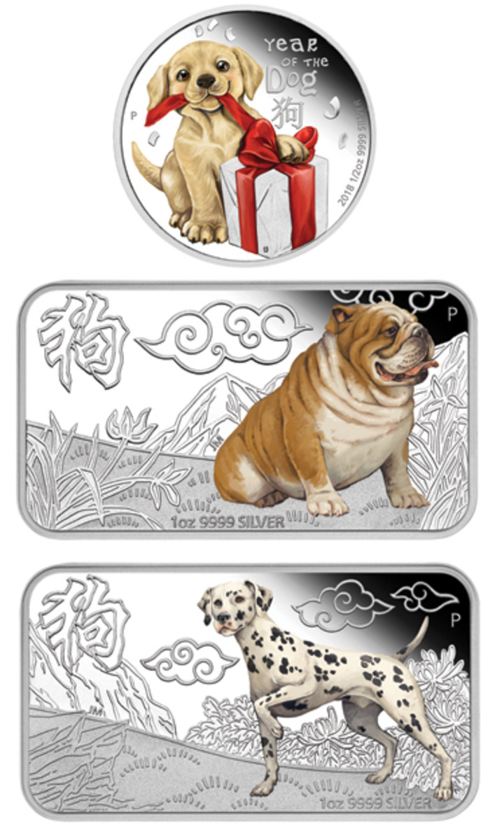 A puppy unwraps a gift (top) above a Bulldog (center) and Dalmatian (bottom) on three of Tuvalu's Year of the Dog selectively colored silver issues. (Images courtesy Perth Mint)