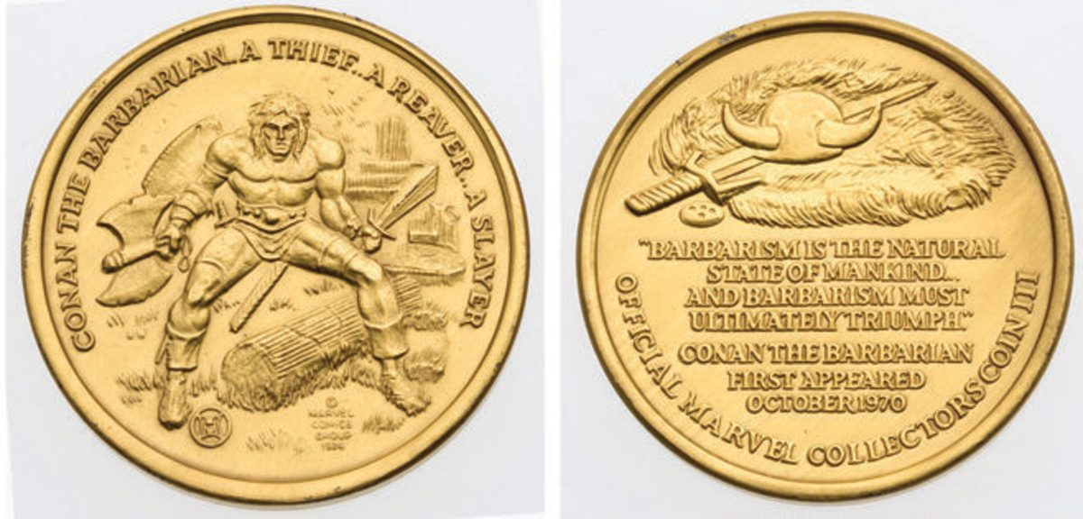 A popular comic in the 1970's Connan the Barbarian was featured on his own coin/medallion in 1974 by Hallmark Minting. This gold plated silver example was sold in Heritage Auctions #121949.