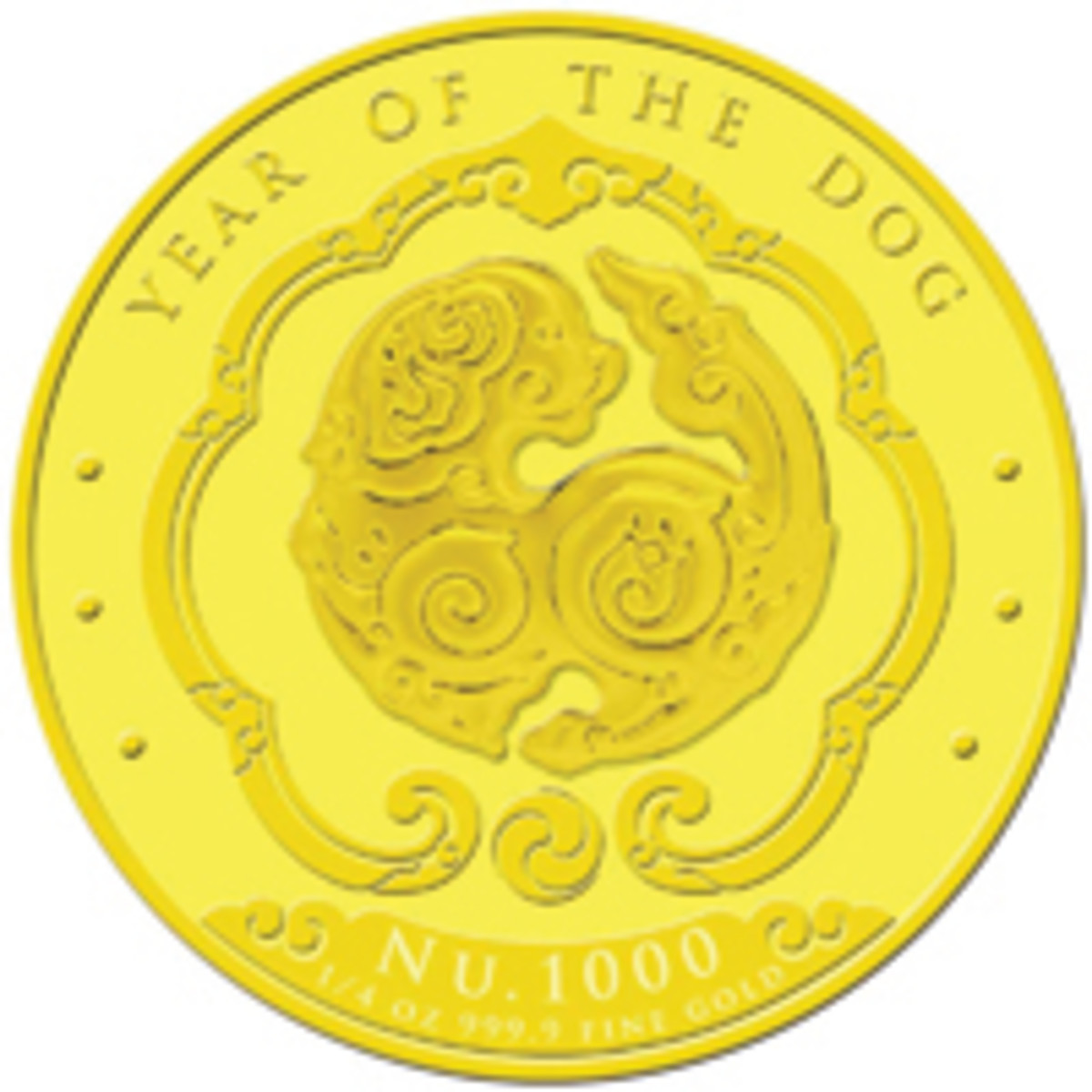 Reverse of Bhutan's third lunar gold 1,000 ngultrum. (Image courtesy Singapore Mint)