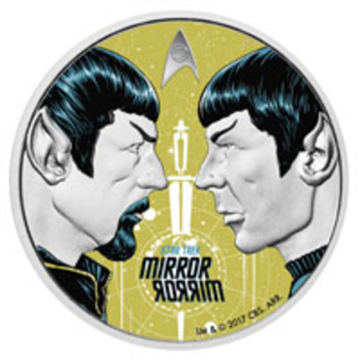 Spock meets his evil counterpart on the reverse of The Perth Mint's silver dollar struck for Tuvalu. (Image courtesy and © The Perth Mint. TM & © 2017 CBS Studios Inc. STAR TREK and related marks and logos are trademarks of CBS Studios Inc. All Rights Reserved.)