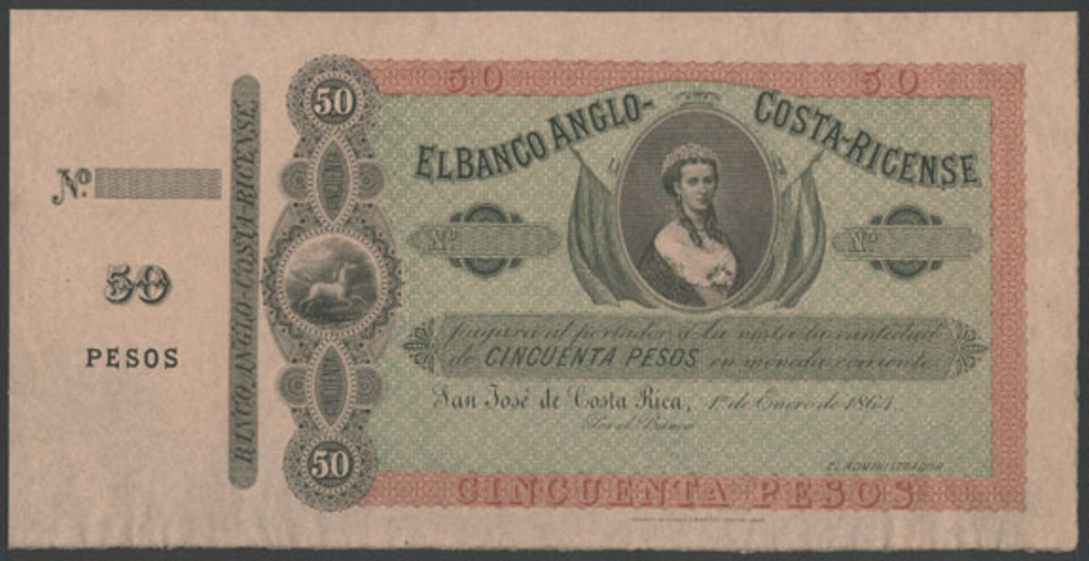 Rare El Banco Anglo-Costa-Ricense 50 pesos specimen of 1 January 1864 (P-S110s) that sports an unusual vignette of Queen Victoria. Seldom offered at auction, it will provide a centerpiece at the Spink NYINC sale in January. (Image courtesy and © Spink)