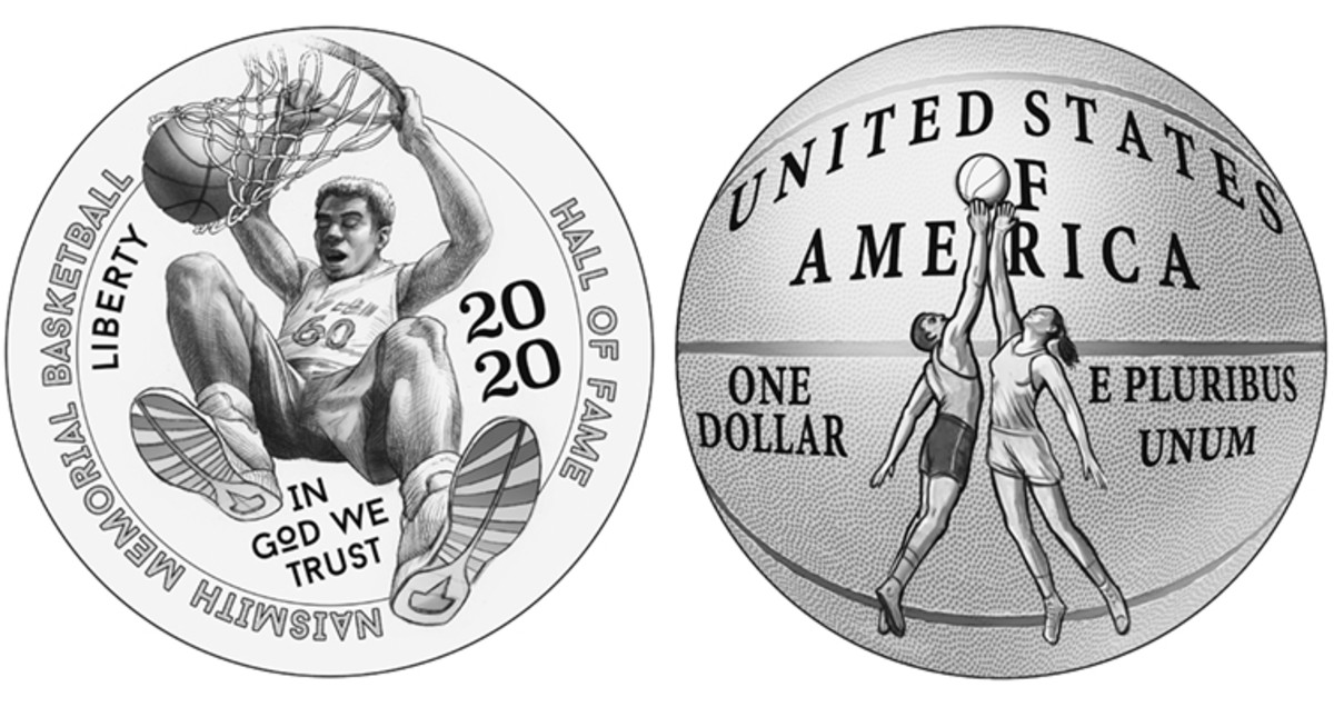 The second design pairing for the 2020 commemorative coin series recommended by the CCAC features an exciting slam dunk on the obverse with a jump ball situation on the reverse. (Images courtesy of the United States Mint)