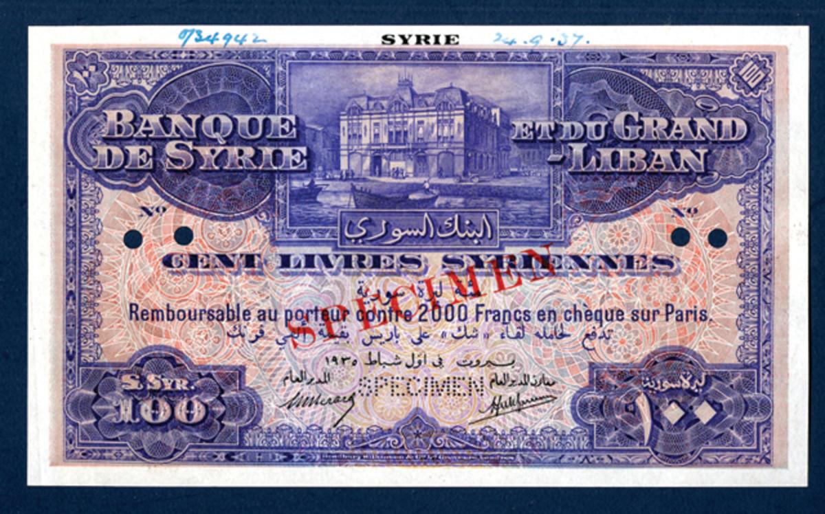 Seldom seen Banque de Syrie et du Grand Liban £SYR100 specimen of 1935, P-38a.