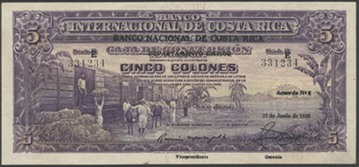 Overprinted Banco Nacional de Costa Rica 5 colones of 22 June 1938 (P-198b) that comes in a seldom-seen PMG 40 EPQ Extremely Fine. Estimate is $2,500- 3,000. (Image courtesy and © Spink)