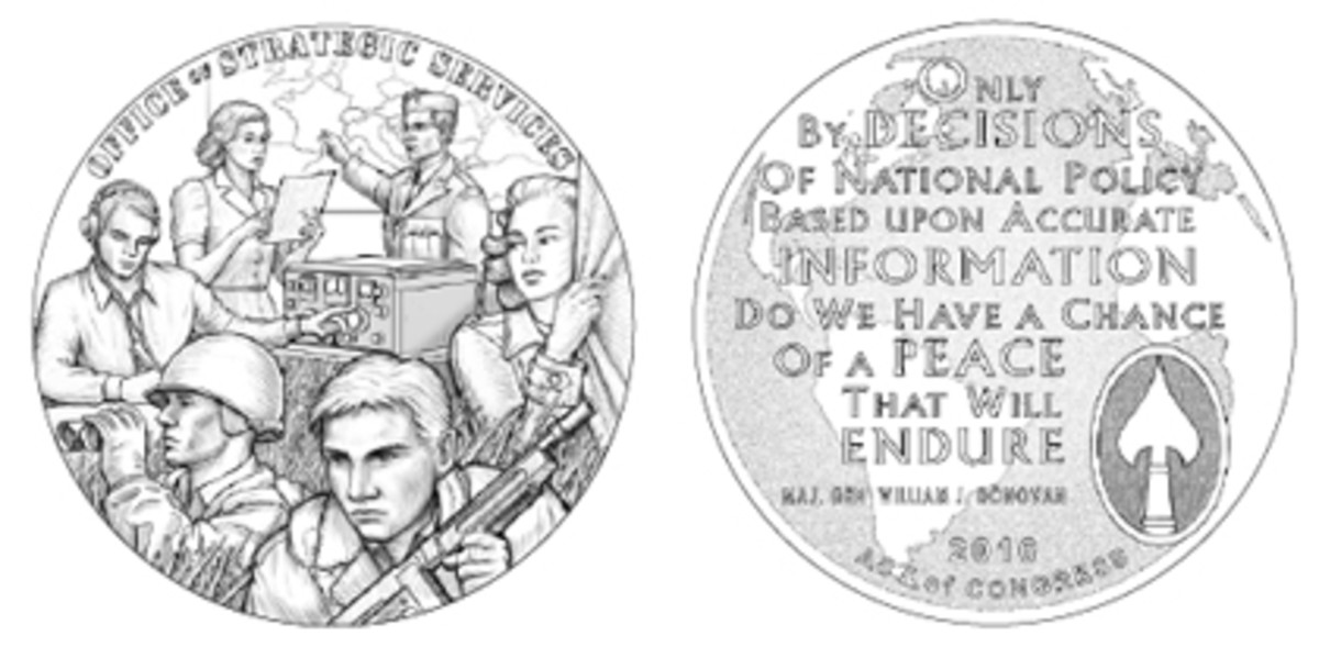 CCAC members disliked the cluttered, cartoon-like quality of the CFA's recommended OSS medal obverse, Design 15, and were underwhelmed with its chosen reverse, Design 19.