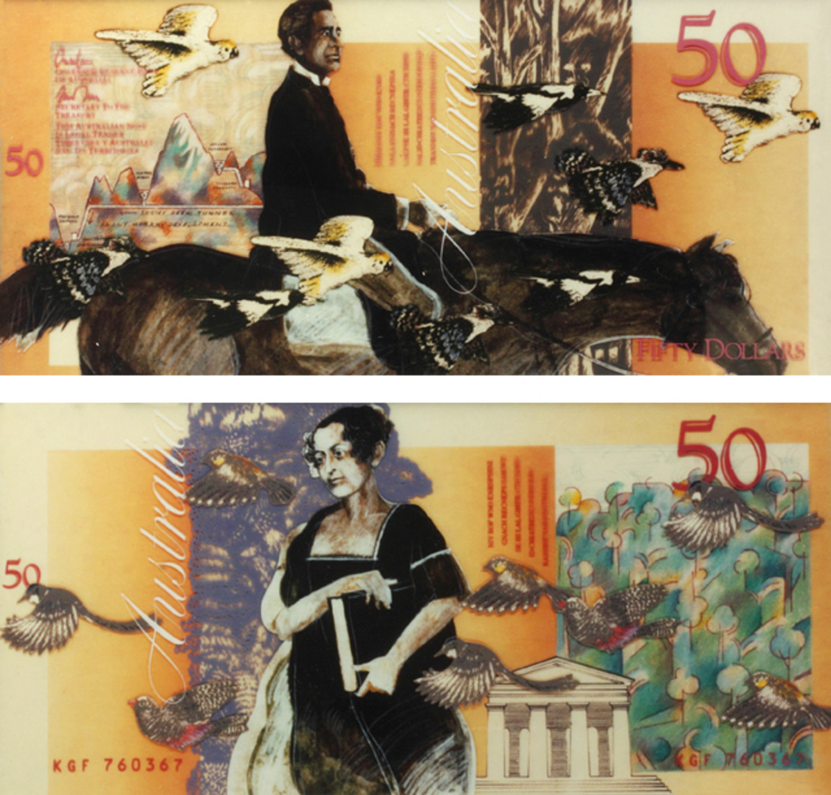 "Bruce Weatherhead's sixth version of his Sir Paweł Strzelecki and Lady Jane Franklin $50. The artist was striving for something distinctly Australian. He wished to illustrate both people full figure and not as ""death masks."" He saw no reason to ""emulate the cliché of overseas banknotes."" In this he failed to appreciate the unity the Note Committee was attempting to achieve within the entire new bank note series."