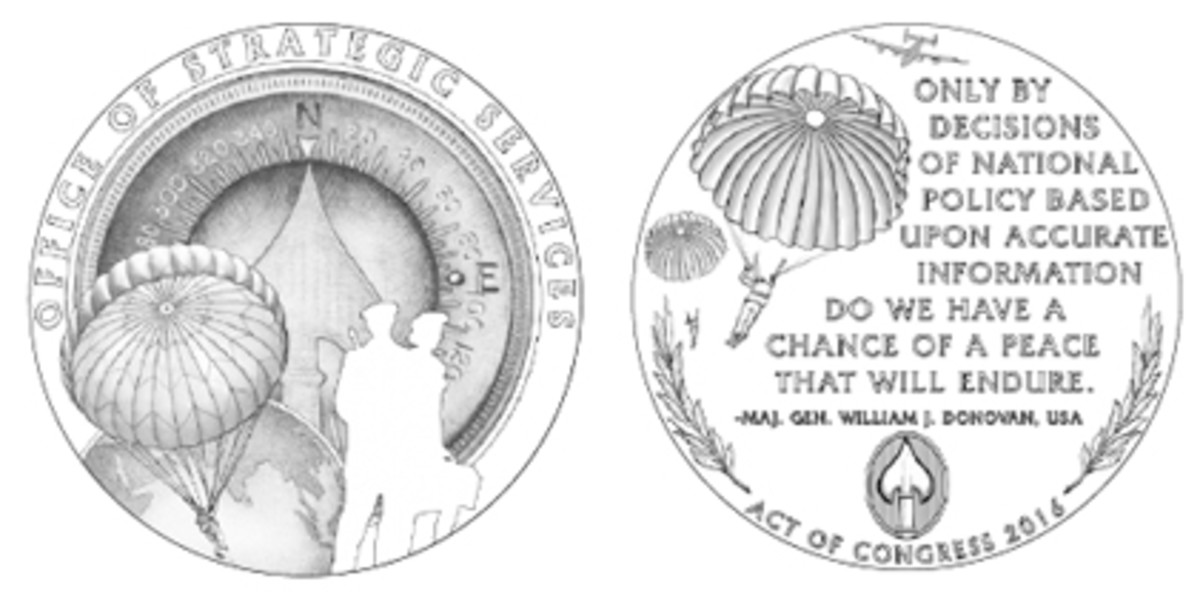 "So as not to duplicate an element depicted on the CCAC's chosen obverse for the OSS Congressional Gold Medal, Design 12, it suggests replacing the parachuter on the reverse, Design 21, with a ""frogman"" diver."