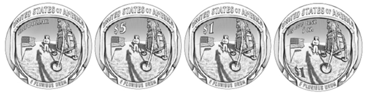 Series 03 is the recommended design from both the CCAC and CFA for the reverse of the 2019-dated curved coins commemorating the 50th anniversary of the Apollo 11 lunar landing. The series will consist of (from left) a clad half dollar, gold $5, silver $1 and 5-ounce silver proof $1.