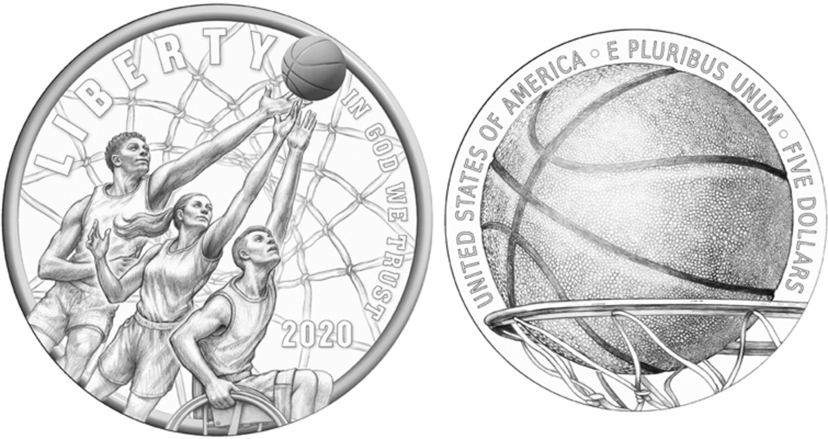 The CFA recommended the same obverse design as the CCAC, however, they suggested a different reverse which depicts a basketball entering the hoop. (Images courtesy of the United States Mint)