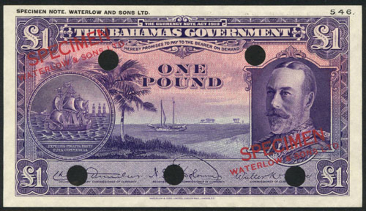 False color commercial specimen of Bahamas £1 of 1919 (cf. P-7). The issued note was black. That on offer is mauve. In PMG 67 EPQ Gem Unc, the estimate is $2,500-3,000. (Image courtesy and © Spink)