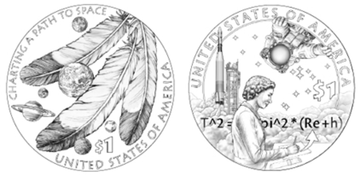 The CCAC's pick for the 2019 Native American dollar reverse is Design 08 (left). Members called the CFA's recommendation, Design 10, too detailed for the size of the coin.