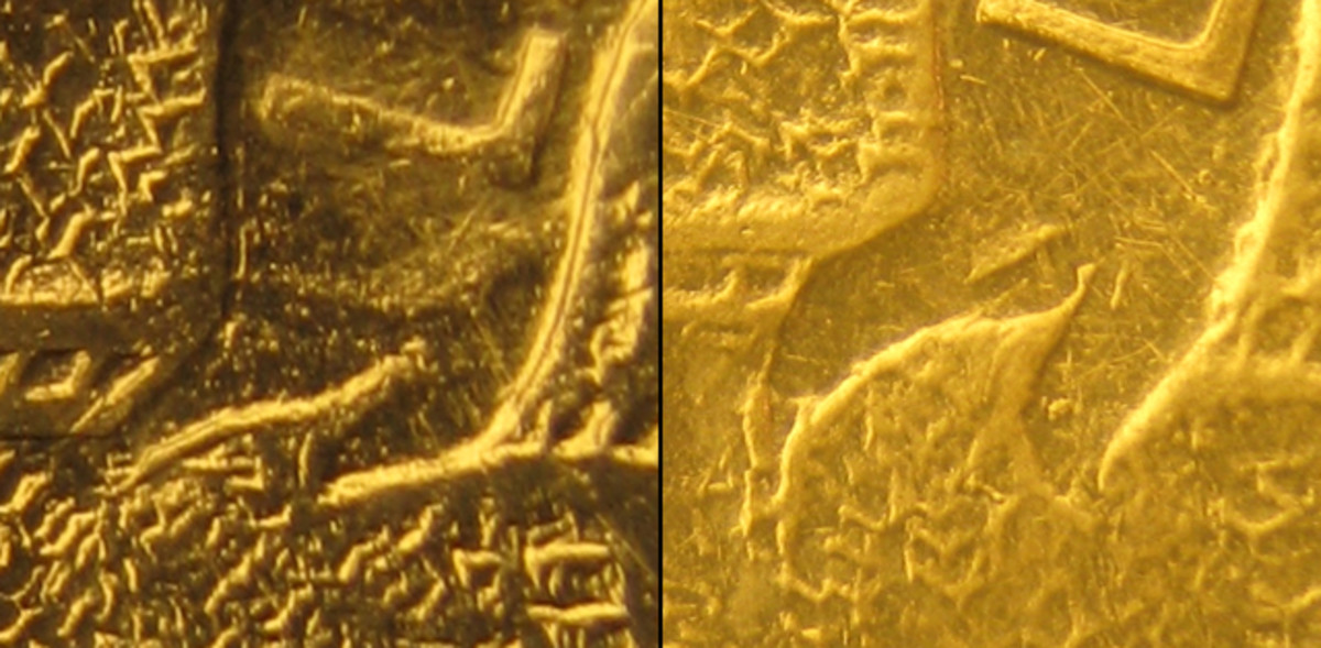 (Left) Sideways ribbon end on Type 1 obverse. (Right) Turned-down ribbon ends on both Type 2M and 2 obverses.