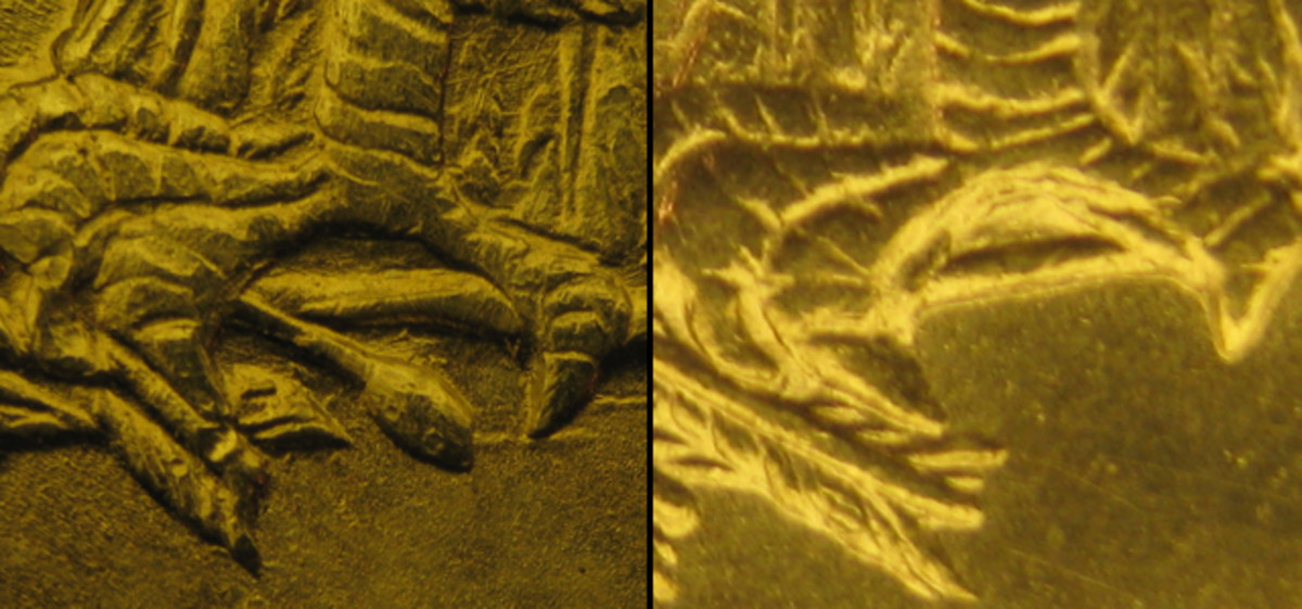 (Left) Berry below claw on Type I reverse. (Right) No berry on Type 2M and 2L reverses.