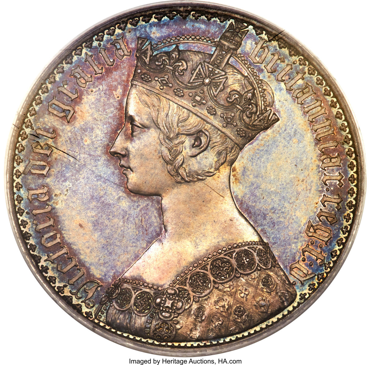 Delightful patina highlights 1847 Victoria proof crown (KM-744; S-3883) that comes graded PR63 PCGS. (Image courtesy Heritage Auctions)