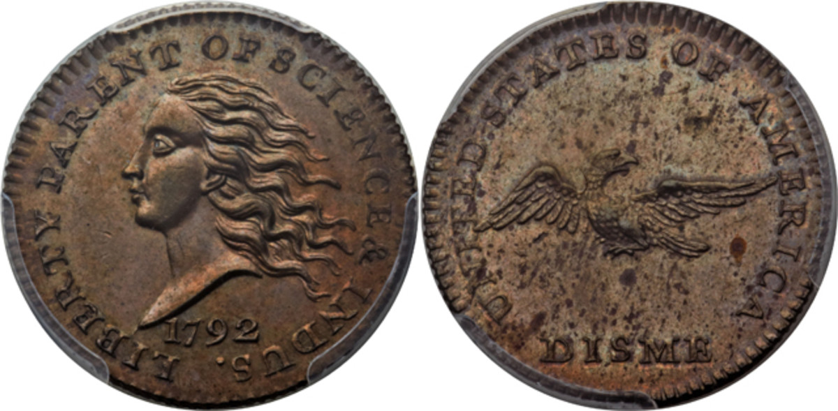 A 1792 pattern disme, Judd 10, will be put on the auction block by Heritage at the Central States convention.