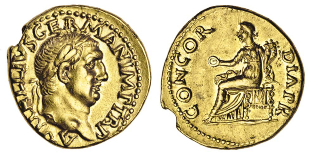 The superb aureus of Vitellius found in Norfolk earlier this year that sold for $30,804. Vitellius was Roman Emperor for just eight months in 69 C.E.. Image courtesy and © Spink.