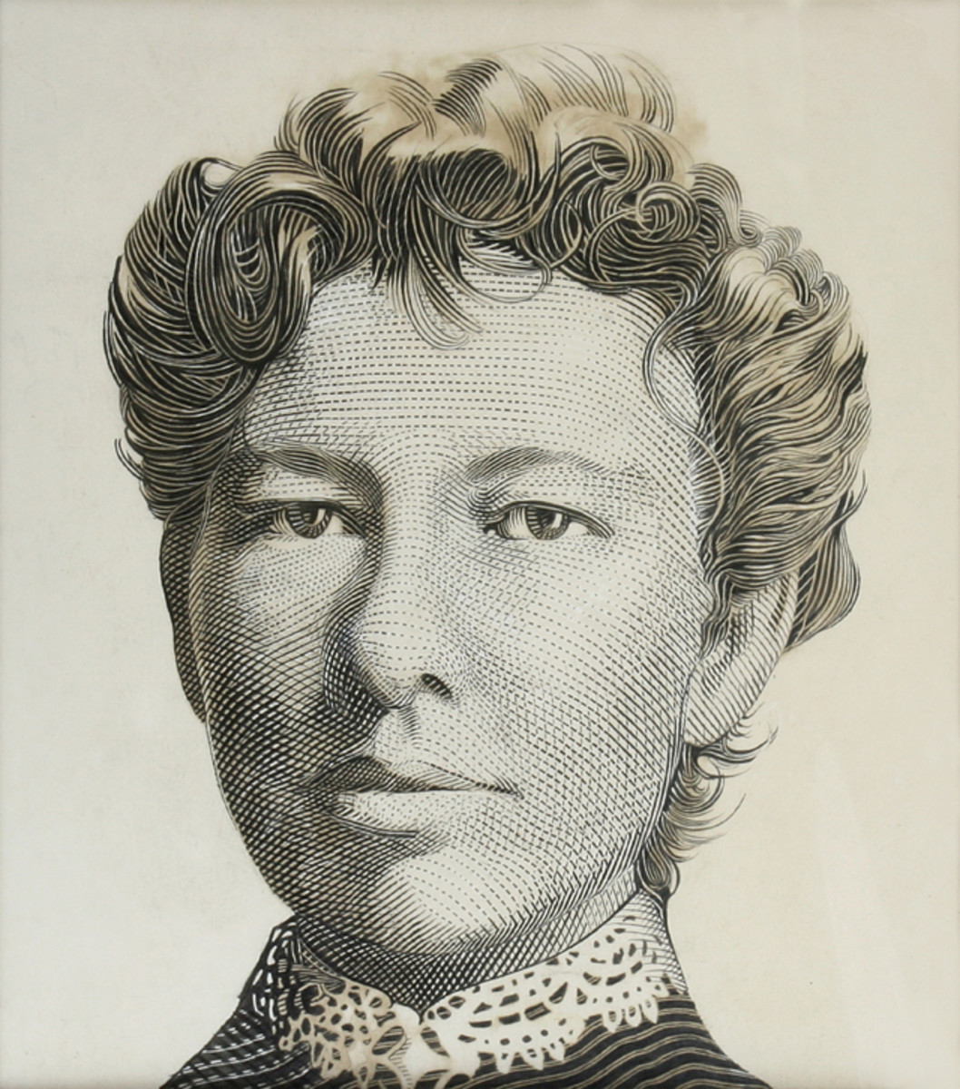 Original engraving of Dame Mary Gilmour used on 2001 federation $5 commemorative note (P-56).