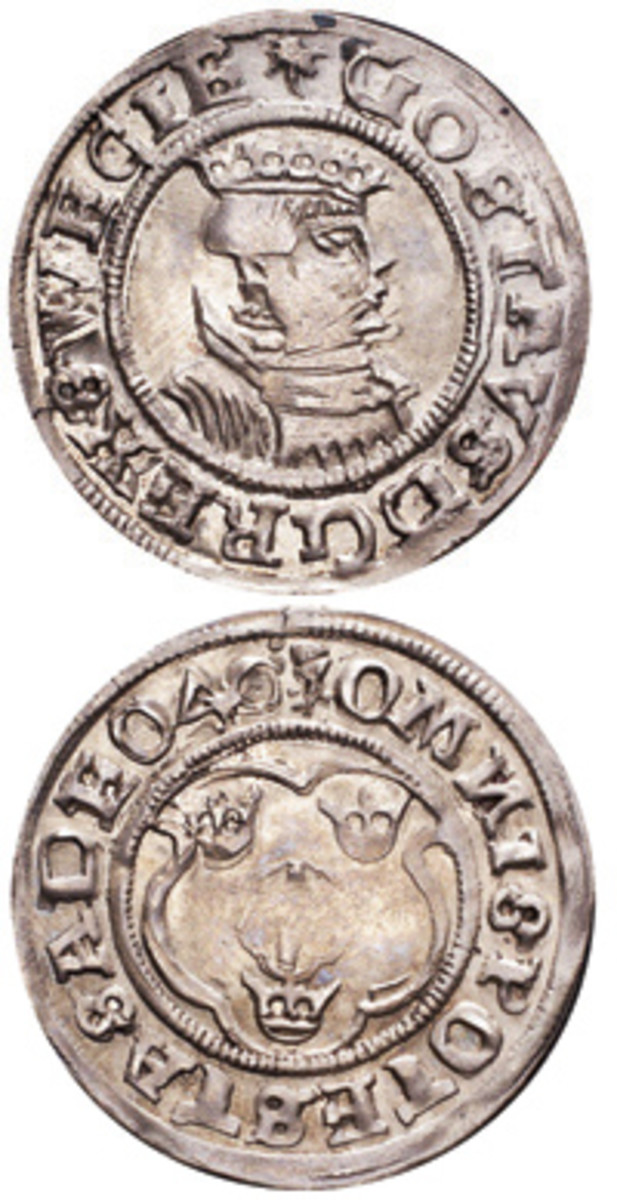 Much of Gustav's reform coinage featured his portrait. This is a silver 2 ore of Stockholm dated 1540. (Images courtesy of The Coin Cabinet Ltd, London, www.thecoincabinet.com)