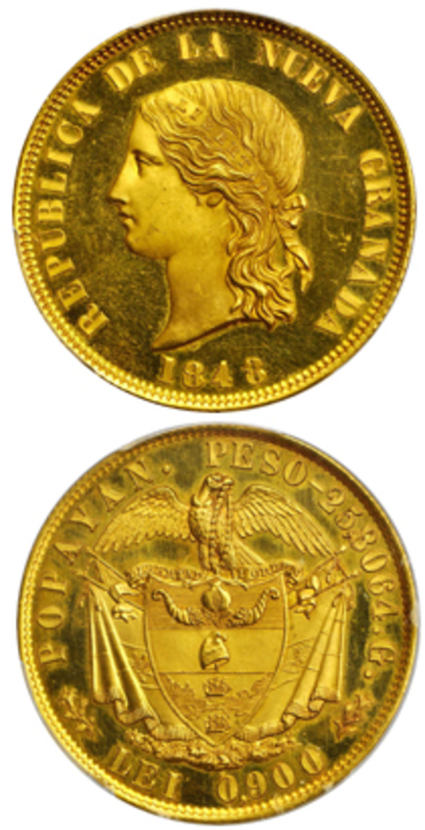 "Top priced Colombian lot: unique 1848 pattern 16 pesos struck at Popayán (KM-Pn18). The bust carries the initials ""W.W."" presumably for William Wyon of Britain's Royal Mint. It went for a comfortable $96,000 in PCGS SP-64. (Images courtesy &© Stack's Bowers)"
