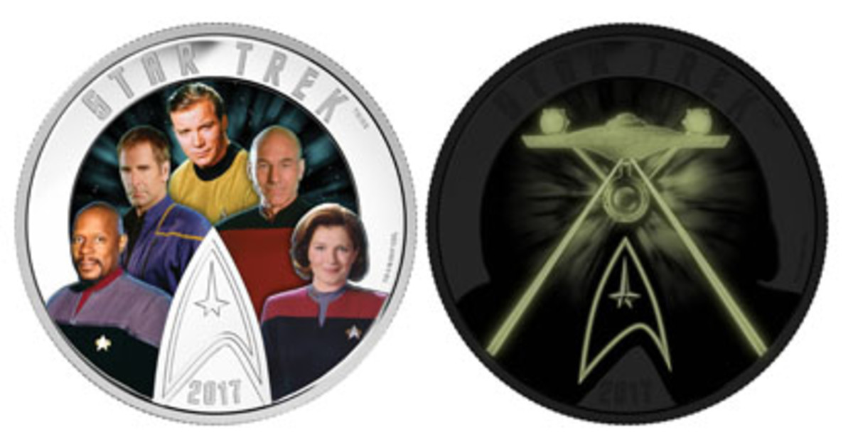 The Five Captains of the six Star TrekTM television series feature on the reverse of this 2 oz colorized silver proof Canadian $30, From left Benjamin Sisko, Jonathan Archer, James T. Kirk, Jean-Luc Picard, and Kathryn Janeway. Now, without Googling, can readers name the actors that played the five commanders? But there's more! Turn the lights off and the reverse will glow in the dark to show the U.S.S. Enterprise in flight. (Images courtesy Royal Canadian Mint. TM & © 2017 CBS Studios Inc. STAR TREK and related marks and logos are trademarks of CBS Studios Inc. All Rights Reserved.)