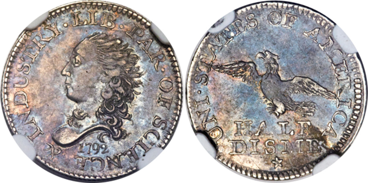 The 1792 half disme appearing in the sale is pictured here.