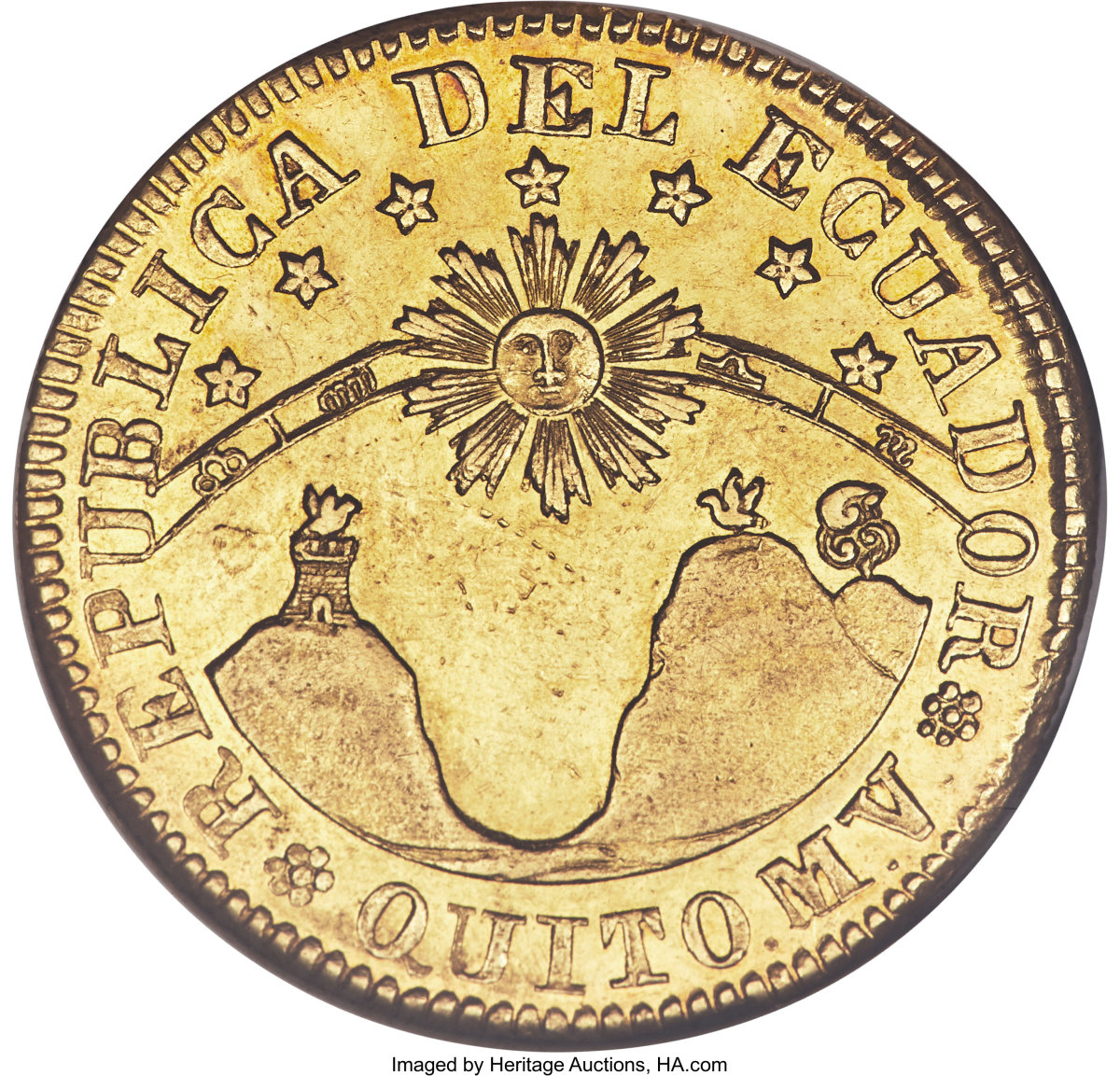 """Desirable Ecuador Republic gold 8 escudos of 1843 MV-S struck in Quito (KM-23.2;Fr-3). The AU55 NGC graded coin comes described as having """"lustrous surfaces, and a harvest-gold planchet with old-time peripheral toning."""" (Image courtesy Heritage Auctions)"""