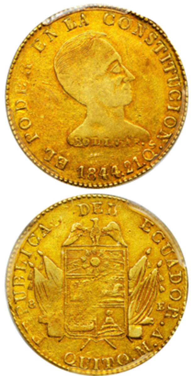 Top-selling Ecuadorian lot: possibly unique 1844-MV 8 escudos struck at Quito mint, KM-28,with wondrously crude portrait of Bolivar. In PCGS EF-45 it realized $456,000. (Images courtesy &© Stack's Bowers)