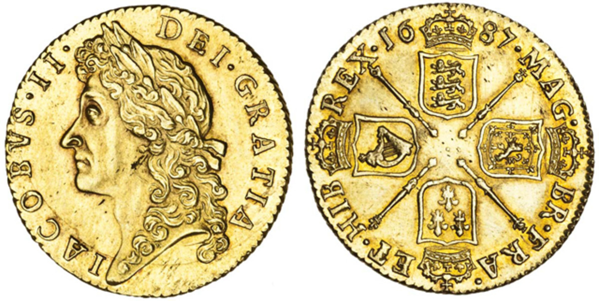 A James II guinea of 1687 proved popular. It was a choice example of the second draped and laureate bust, S-3402. It came graded EF and it was presumably its condition that drove its price up to $20,838 [£13,800].