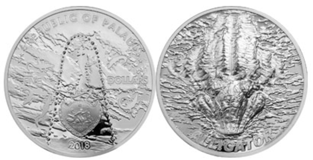 Obverse and reverse views of Palau's Alligator bite silver $5 proof. (Images courtesy NumisCollect)