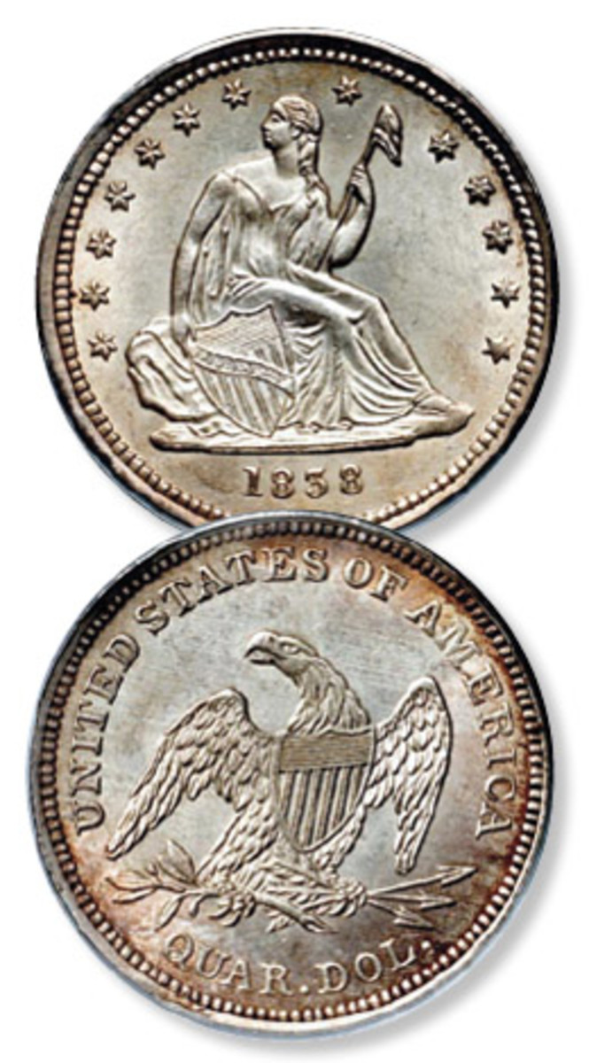 Coinage of the Seated Liberty quarter began in 1838.