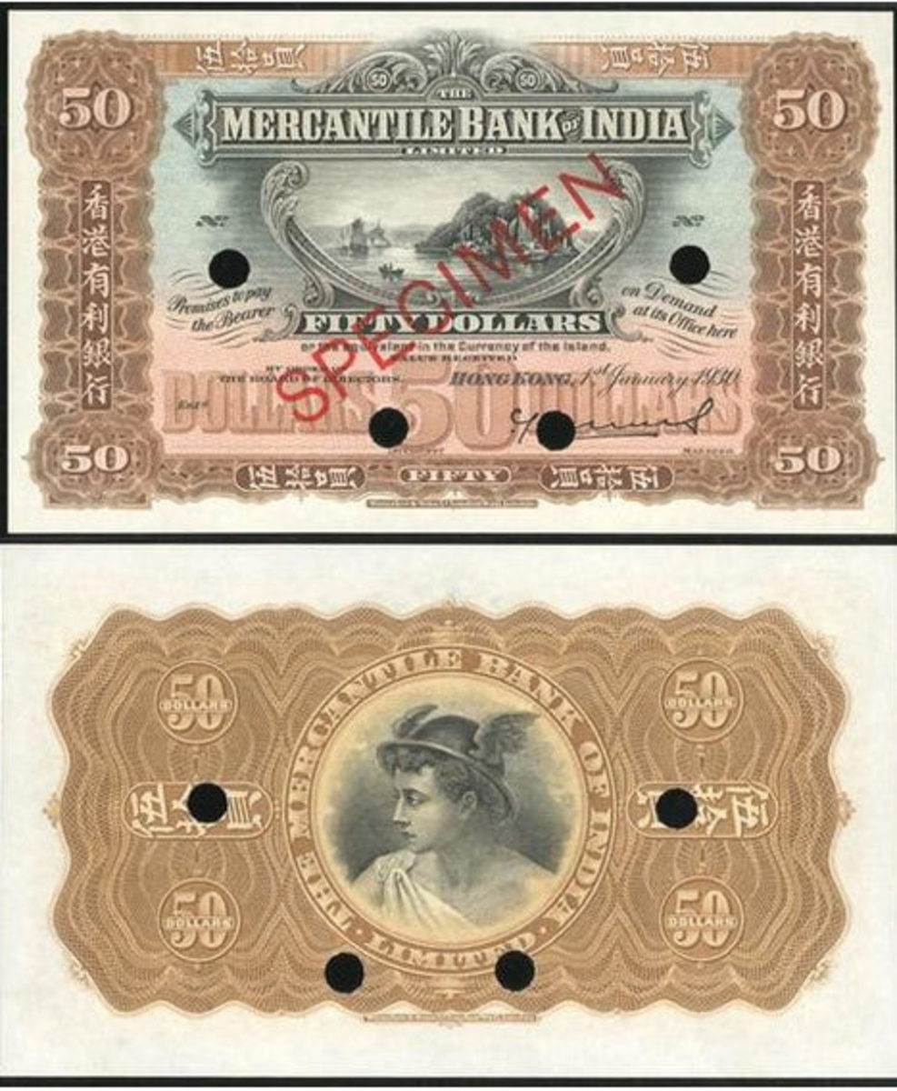 "Lot 2330: The Mercantile Bank of India $50 Specimen features boat at upper center, ""50"" at each corner. The reverse is brown and black with Mercury at center. The note sold for around $37,000 USD at the Spink January 2020 auction."