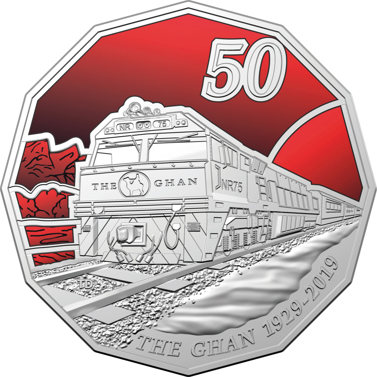 The new coin commemorating the 90th Anniversary of the Ghan. (Image courtesy of the Royal Australian Mint)
